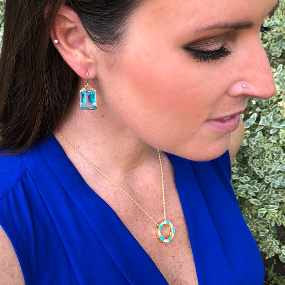 *SPECIAL ORDER* Deco Earrings in Blue Topaz in 14kt- or 18kt-Gold  - USE CODE SPECIALORDER50 and only pay a 50% deposit of $575 for the 14kt version