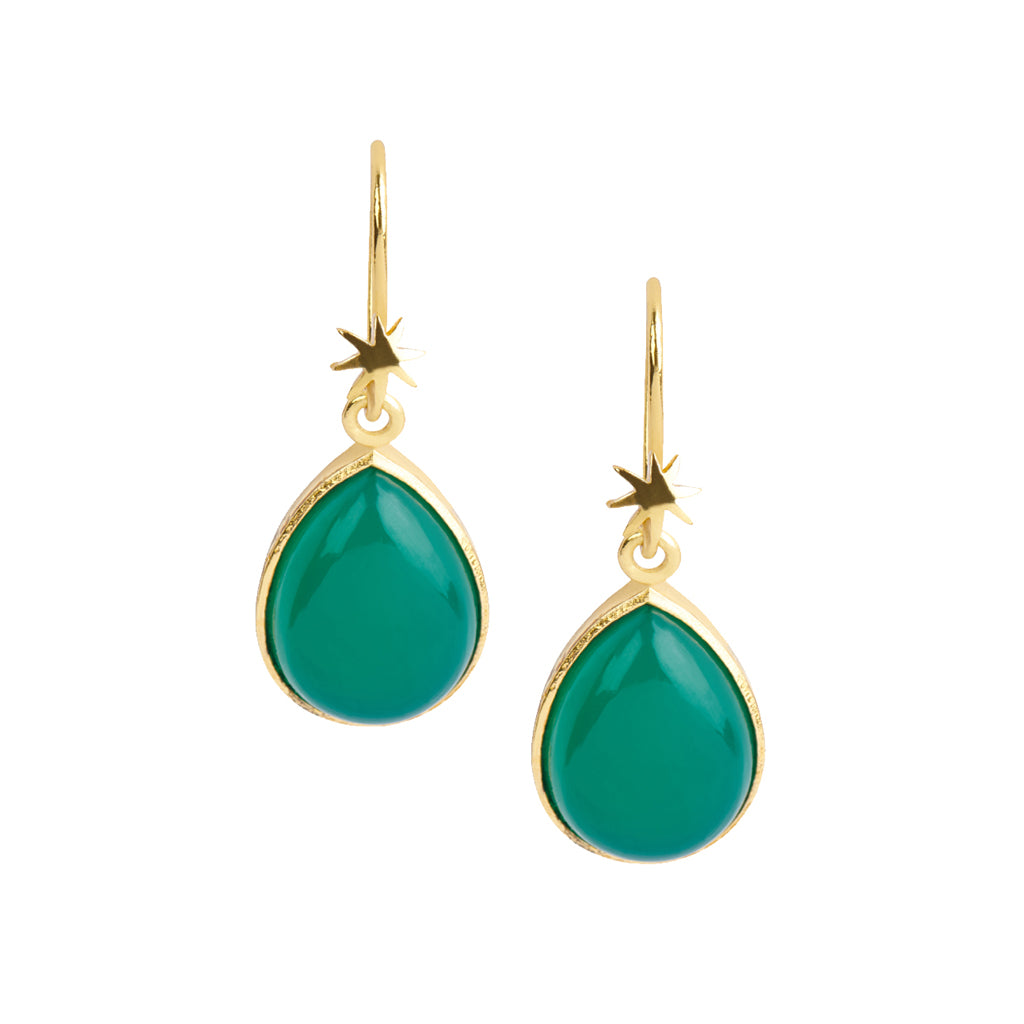 Teardrop Green Onyx Earring on HopeStar Earwire