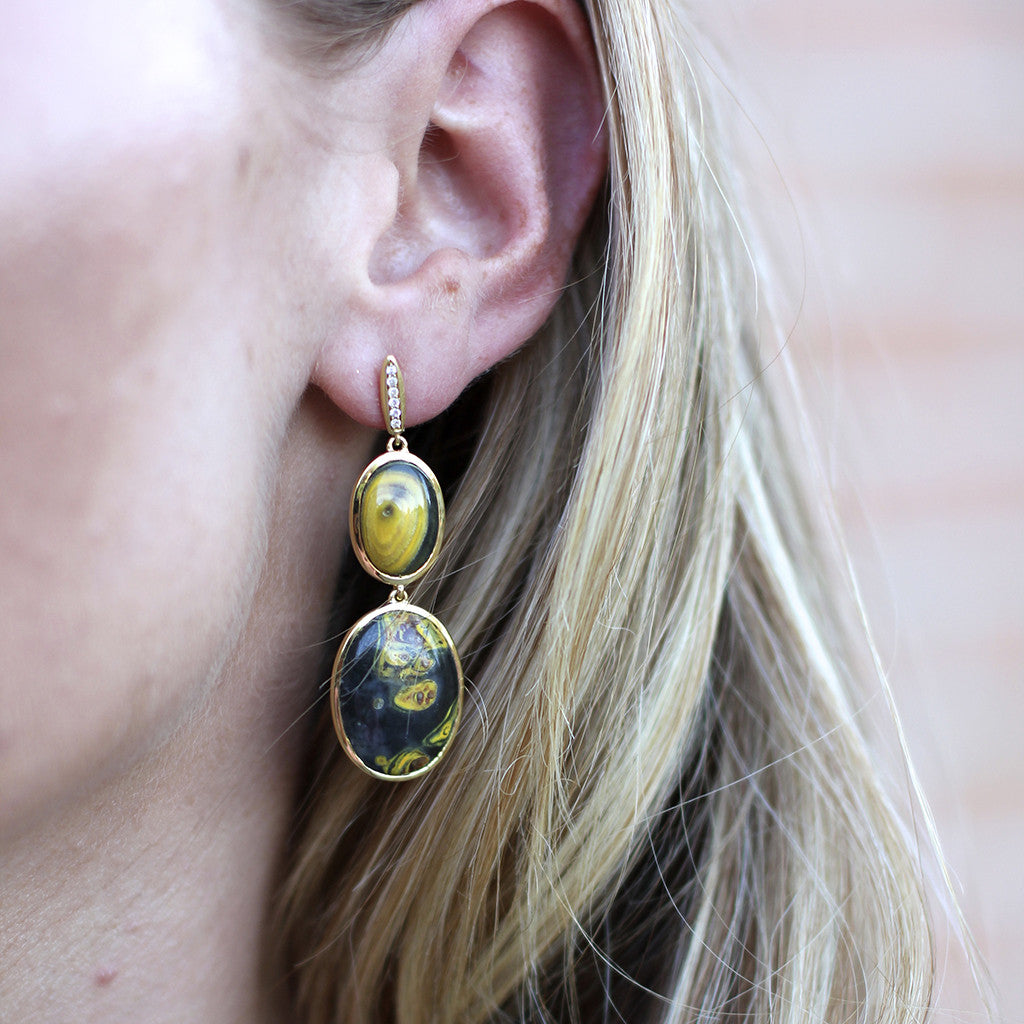 18kt Gold and Diamond Earrings in Bumblebee Agate - PRICE IS $999 WHEN YOU USE CODE HOORAY50 FOR AN EXTRA 50% OFF