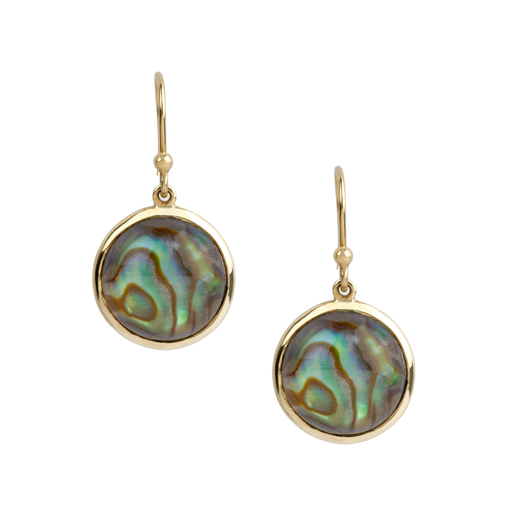 Round Abalone Drop Earrings in 18kt Yellow Gold