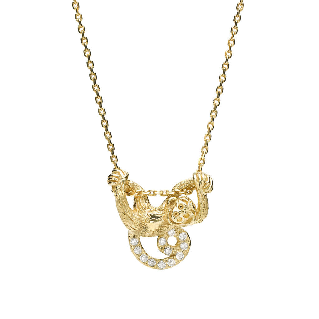 *SPECIAL ORDER* Swinging Monkey Necklace in Diamonds in option of 14kt- or 18kt-Gold - USE CODE SPECIALORDER50 and only pay a 50% deposit of $397.50 for 14kt version