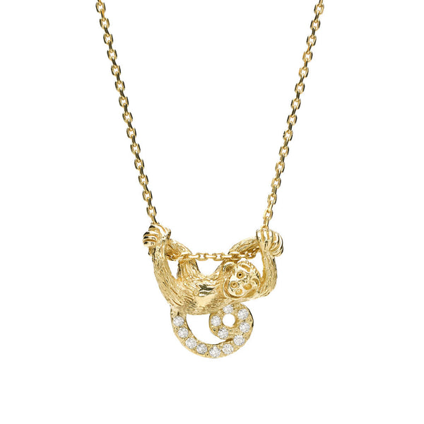 Swinging Monkey Necklace in Diamonds & 18kt Gold