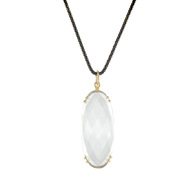 *SPECIAL ORDER* Milky Quartz Sugar Pill & Diamond Pendant Necklace in 14kt Gold - USE CODE SPECIALORDER50 and only pay a 50% deposit of $467.50