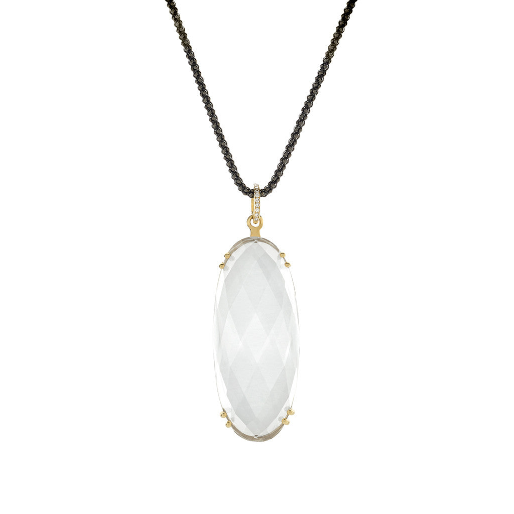 Milky Quartz Sugar Pill & Diamond Pendant Necklace in Sterling Silver