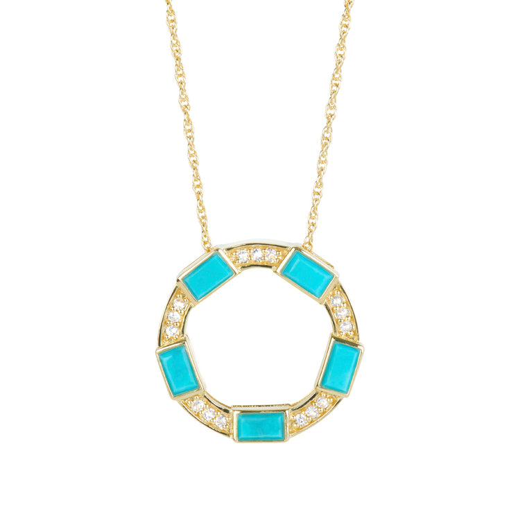 *SPECIAL ORDER* Baguette Deco Necklace in Turquoise & Sapphire in 14kt Gold Over Silver - USE CODE SPECIALORDER50 and only pay a 50% deposit of $147.50