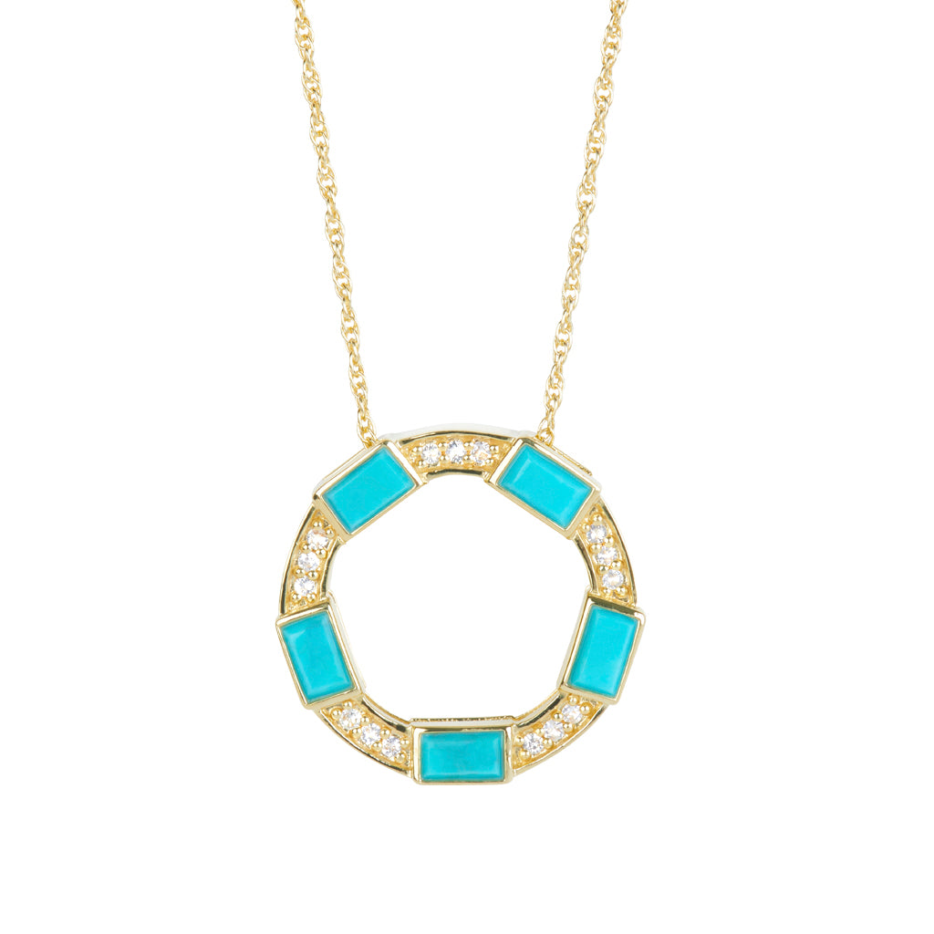 Baguette Deco Necklace in Turquoise & Sapphire in 14kt Gold Over Silver