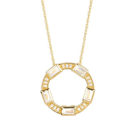 Baguette Deco Necklace in White Topaz & Sapphire in 14kt Gold Over Silver