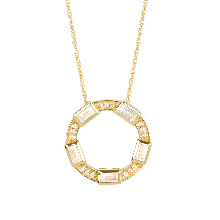 *SPECIAL ORDER* Baguette Deco Necklace in White Topaz & Sapphire in 14kt Gold Over Silver -USE CODE SPECIALORDER50 and only pay a 50% deposit of $142.50