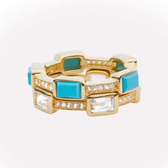 Baguette Deco Puzzle Stack Ring in Turquoise & White Sapphires in 14kt Gold Over Silver