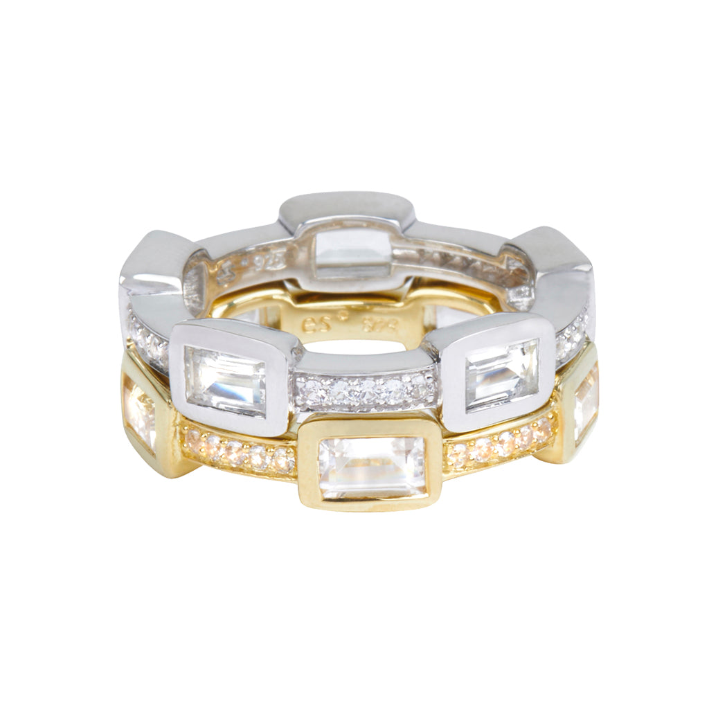 *SPECIAL ORDER* Baguette Deco Puzzle Stack Ring in White Topaz & White Sapphires in 14kt Gold Over Silver - USE CODE SPECIALORDER50 and only pay a 50% deposit of $132.50