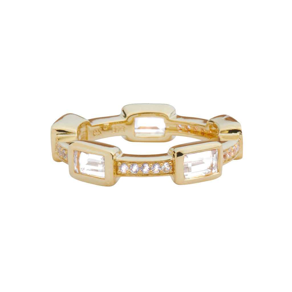 *SPECIAL ORDER* Baguette Deco Puzzle Stack Ring in White Topaz & White Sapphires in 14kt Gold Over Silver - USE CODE SPECIALORDER50 and only pay a 50% deposit of $117.50
