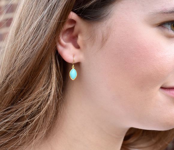 Marquis Malachite  Drop Earrings in 14kt over Silver- EARRINGS ARE $73.60 USE CODE NEW20