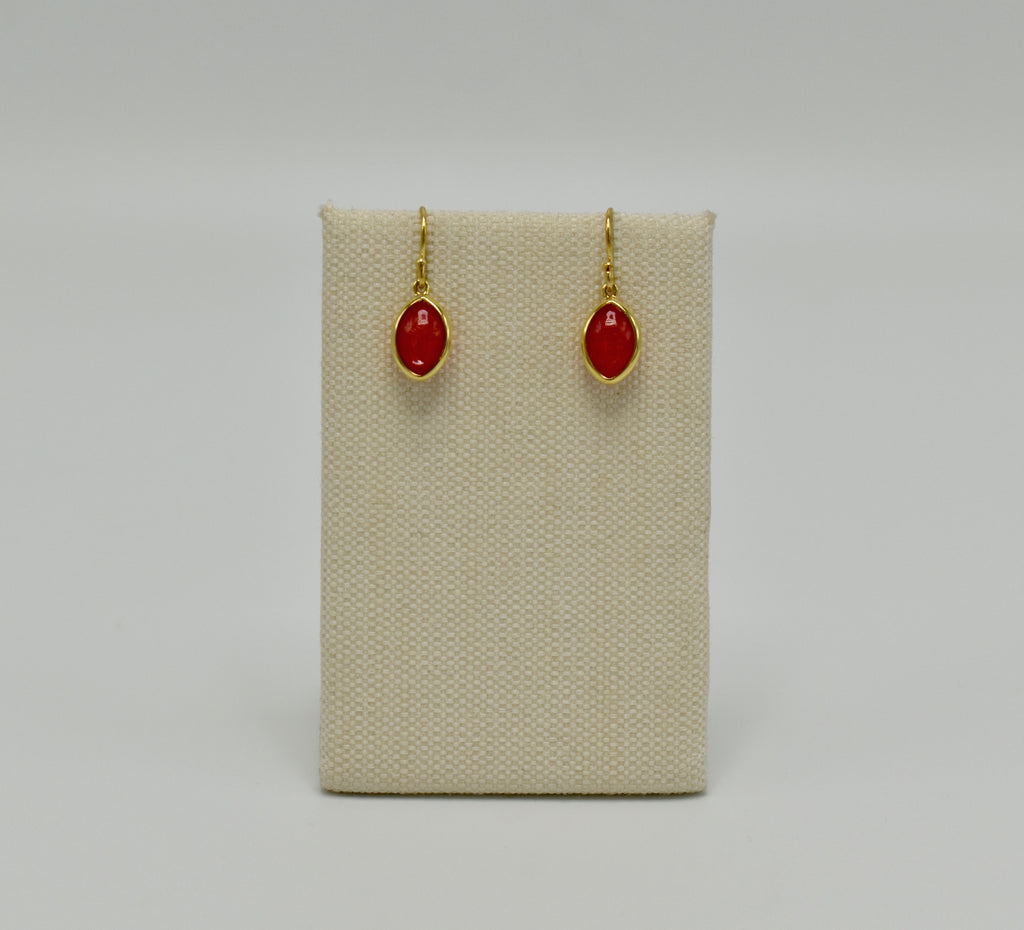 Marquis Drop Earrings in White over Red Quartz- 14kt over Silver-EARRINGS ARE $69 USE CODE JOY25
