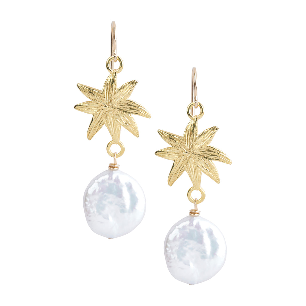 HopeStar Earrings with Coin Pearl Drops - A Reminder Of Your Beauty Within