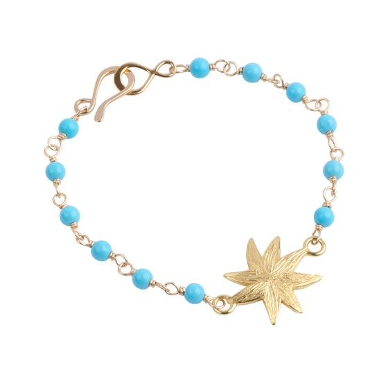 Hope Star Turquoise Bead Bracelet