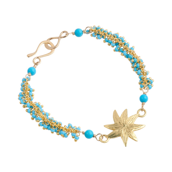 Hope Star and Turquoise Seed Bead Bracelet