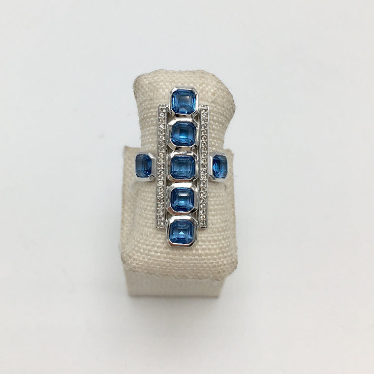 Asscher Cut London Blue Sapphire & White Topaz Deco Ring in Sterling Silver - PRICES STARTING AT $209 WHEN YOU USE CODE HOORAY50 FOR AN EXTRA 50% OFF