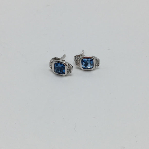 Precious Little Asscher Cut London Blue Sapphire & White Topaz Post Stud Earrings - Sterling Silver - USE CODE FESTIVE30 FOR 30% OFF