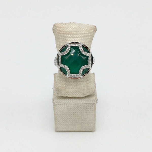 Maltese Cabochon Ring in Emerald Quartz & White Sapphires in Sterling Silver - USE CODE SPRING30 FOR AN EXTRA 30% OFF