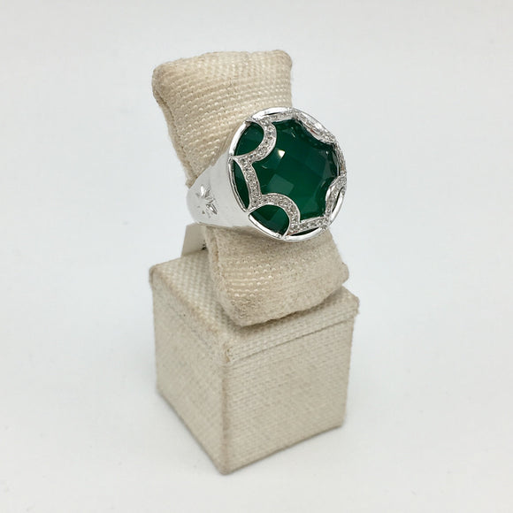Maltese Cabochon Ring in Emerald Quartz & White Sapphires in Sterling Silver (size 6 also now in stock) - PRICES STARTING AT $174 WHEN USE CODE HOORAY50 FOR AN EXTRA 50% OFF
