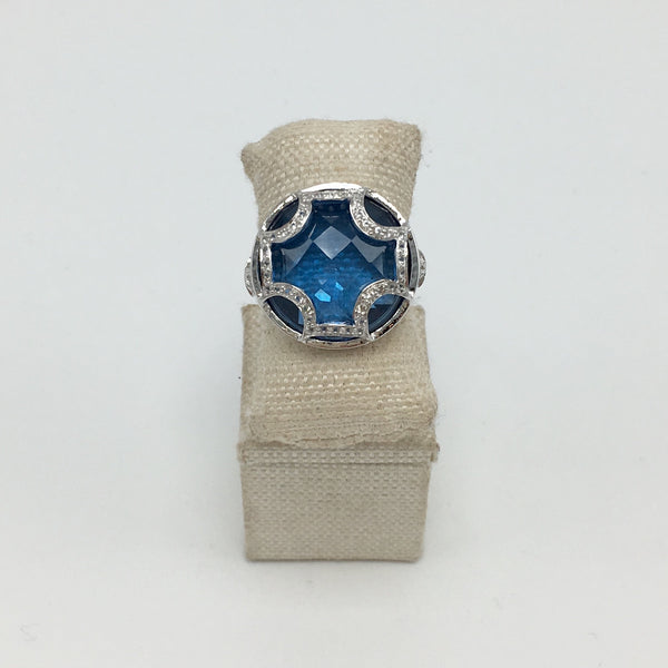Maltese Cross Cabochon Ring in Midnight Blue Quartz & White Sapphires - Sterling Silver - USE CODE SPRING30 FOR AN EXTRA 30% OFF