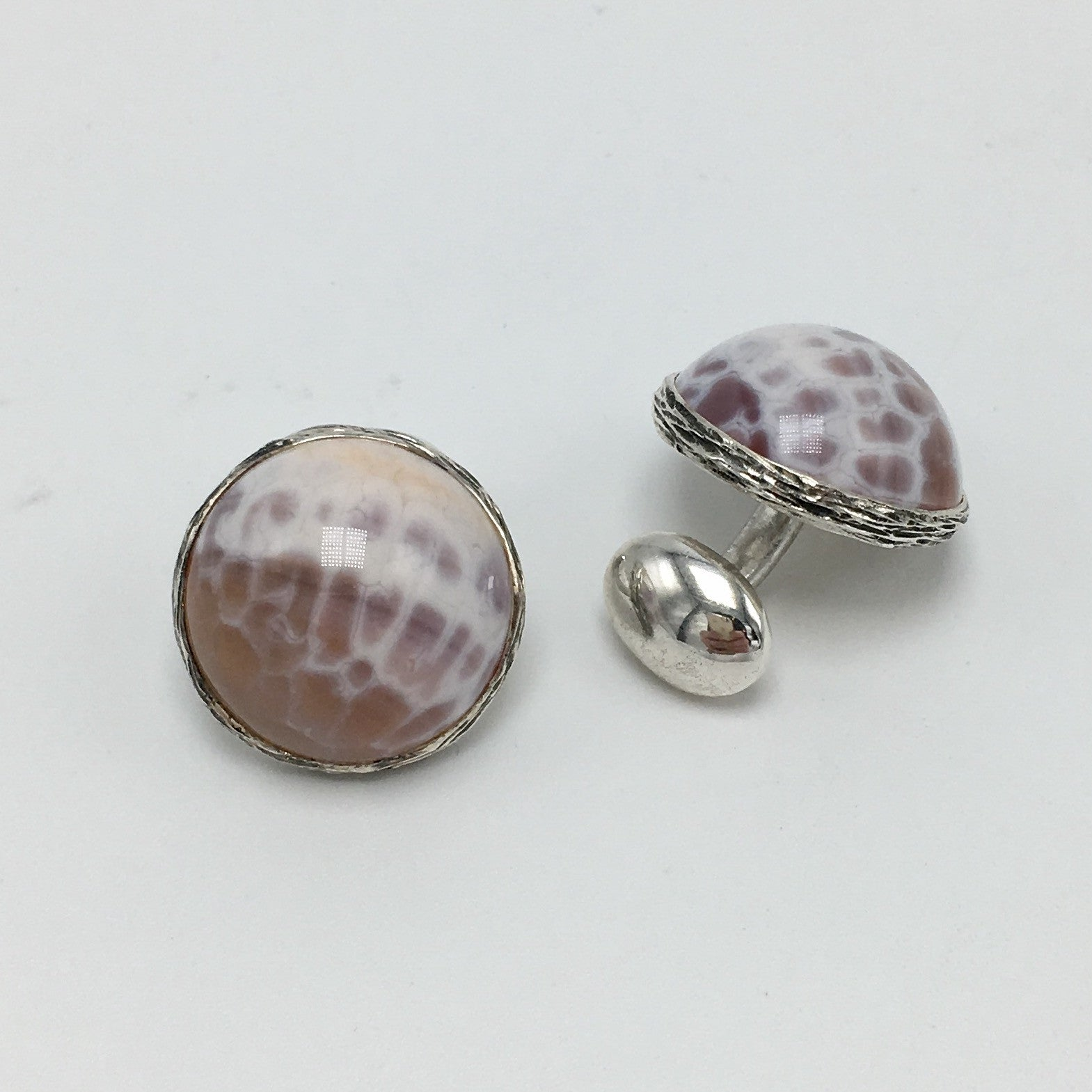 Snakeskin Agate Cufflinks in Sterling Silver - USE CODE HOORAY50 FOR AN EXTRA 50% OFF