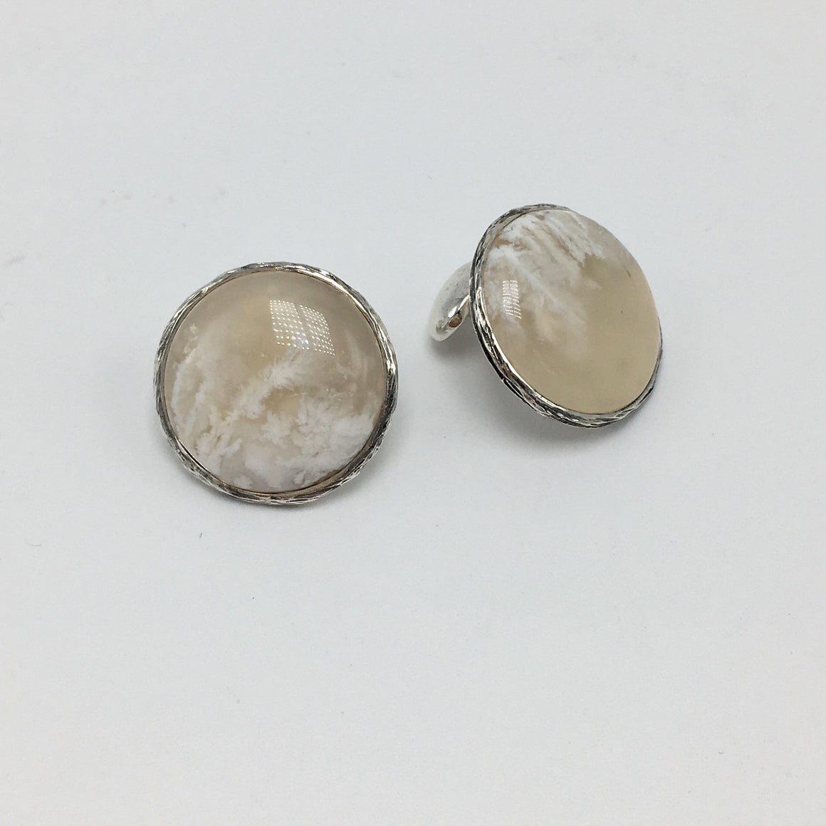 White Plume Agate Cufflinks in Sterling Silver - ORIGINAL RETAIL $465