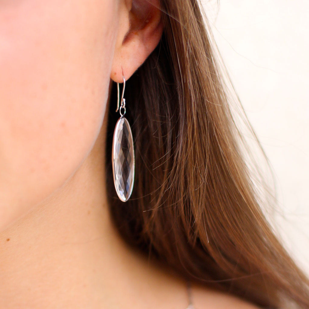 Shortboard Surfer Earrings in White Quartz in Sterling Silver - Special Order