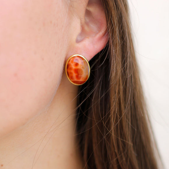 One of a Kind Snakeskin Agate Post Earrings in 18kt Gold - USE CODE THEEND50 TO BUY FOR $1125