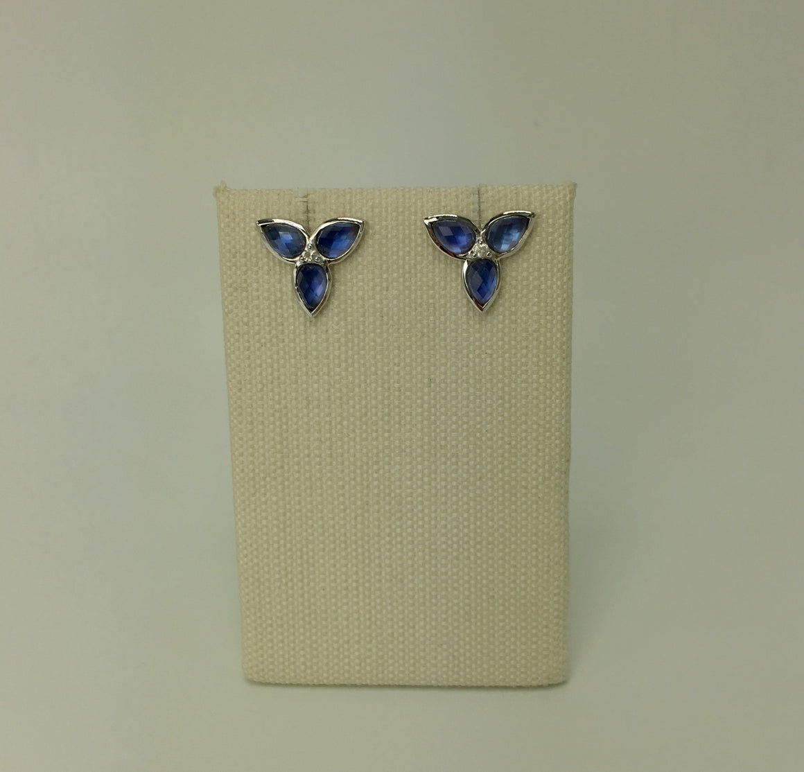 Mariposa Repose Post Earrings in Created London Blue Sapphire in Silver