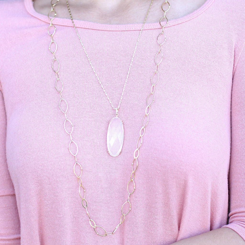 Milky Quartz Sugar Pill & Diamond Pendant Necklace in 18kt Gold