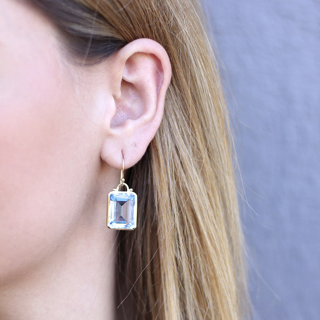 Deco Earrings in Emerald Cut Created Blue Topaz in Sterling Silver - Newly Added