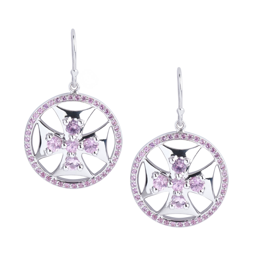 Maltese Cross Superhero Shield Earrings in Pink Sapphires and Silver - PRICE IS $249 WHEN USE CODE SUMMERFINAL50 FOR 50% OFF