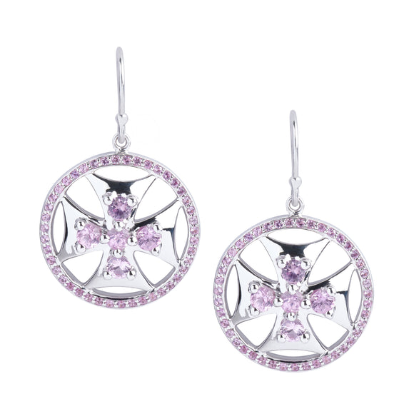 Maltese Cross Superhero Shield Earrings in Pink Sapphires and Silver