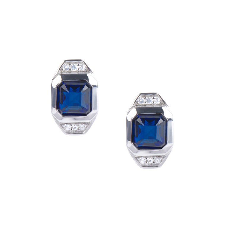 Asscher Cut London Blue Sapphire & White Topaz Post Stud Earrings - Sterling Silver