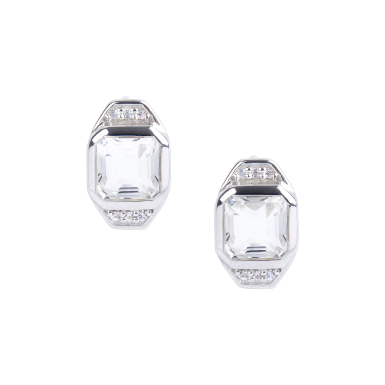 Asscher Cut White Quartz & White Topaz Post Stud Earrings in Silver - PRICE IS $101.50 - USE CODE MOM30