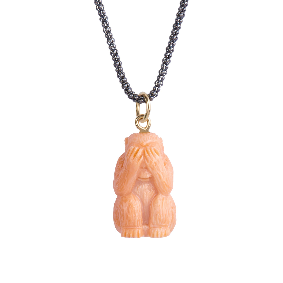 One-of-a-Kind See No Evil Coral Monkey Necklace - PRICE IS $499 WHEN USE CODE SUMMERFINAL50 FOR 50% OFF