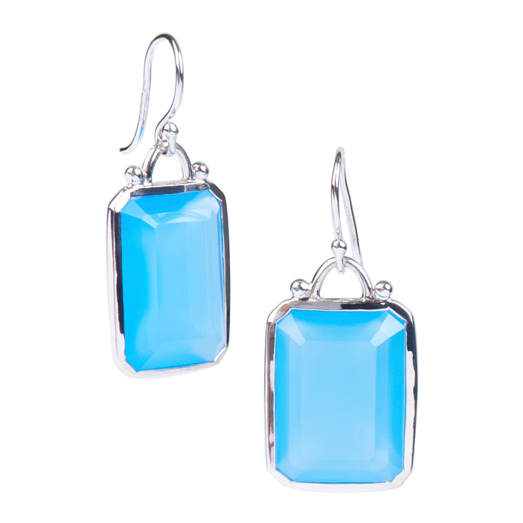 Deco Earrings in Blue Agate in Silver
