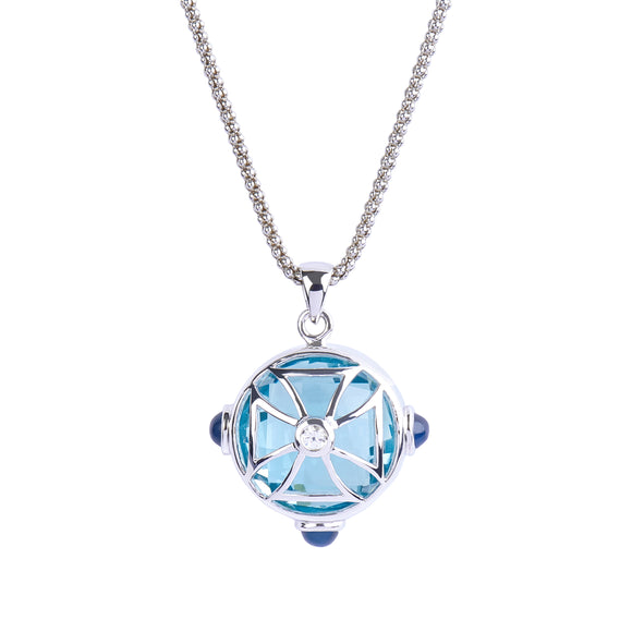 Maltese Cross Sphere Necklace in Ocean Blue Quartz in Silver - USE CODE THEEND50 TO BUY FOR $212.50