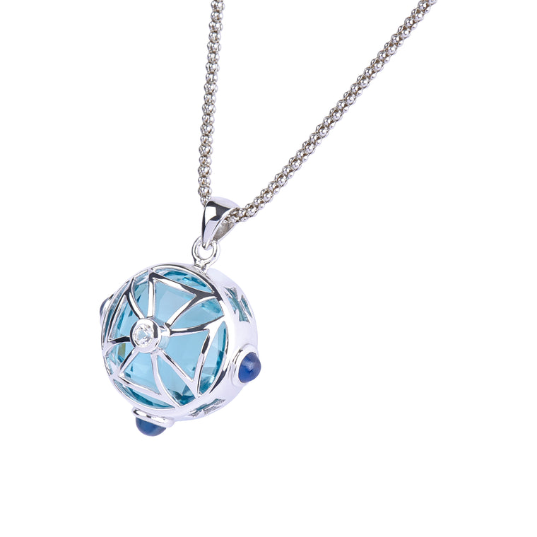 Maltese Cross Sphere Necklace in Ocean Blue Quartz in Silver