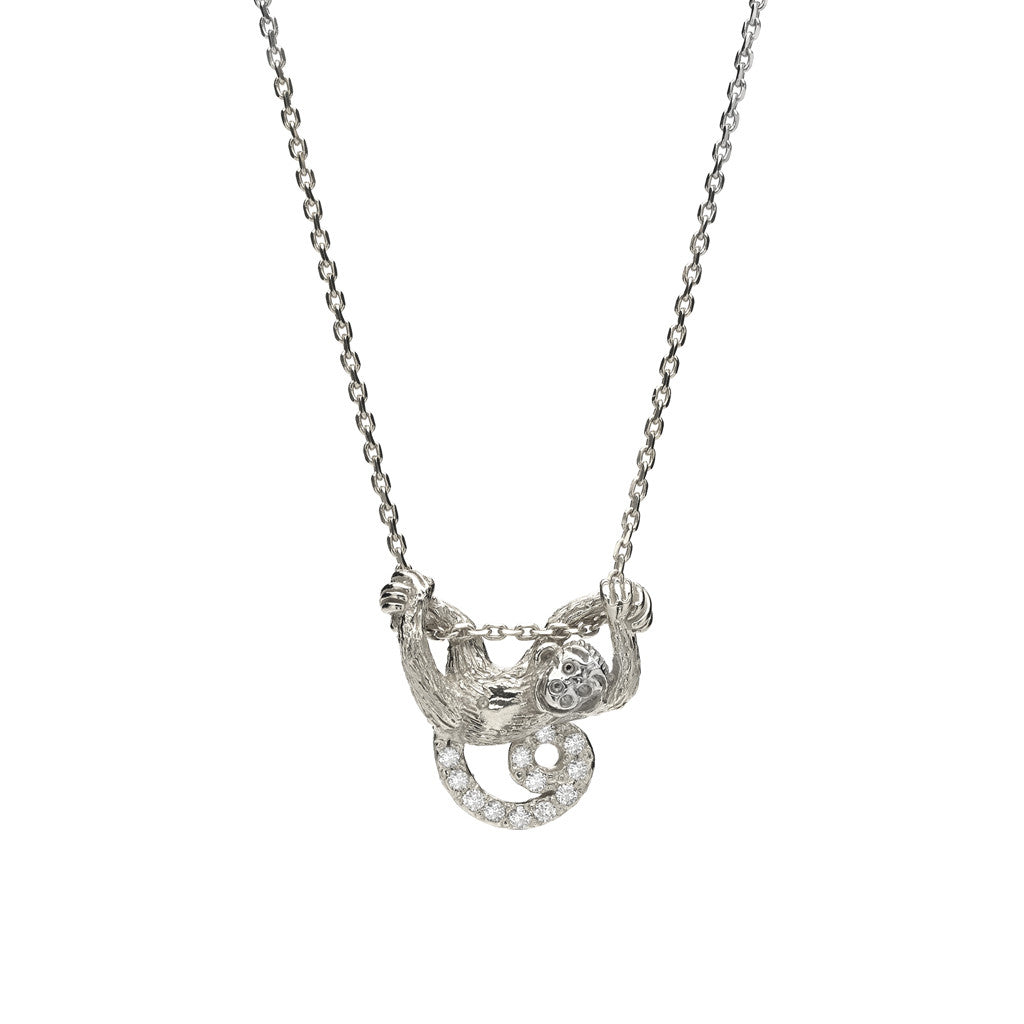 Swinging Monkey Necklace in Sterling Silver & White Sapphires