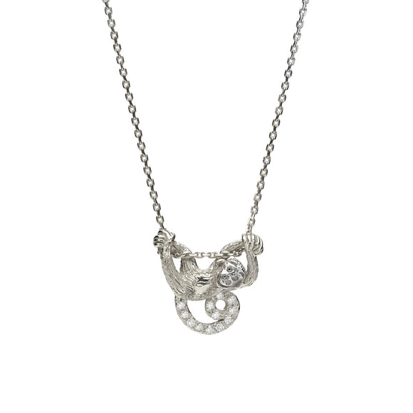 *SPECIAL ORDER* Swinging Monkey Necklace in White Sapphires set in Silver - USE CODE SPECIALORDER50 and only pay a 50% deposit of $147.50