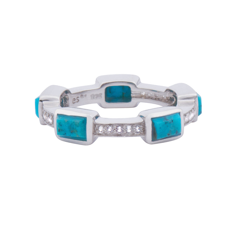 Baguette Deco Puzzle Stack Ring in Turquoise & White Sapphires in Silver
