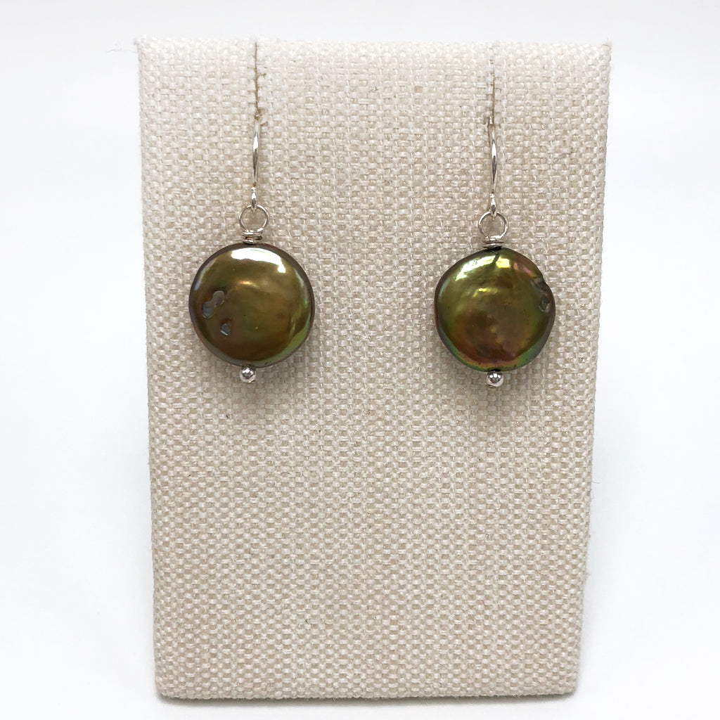 Bronze Freshwater Coin Pearl Drop Earrings in Silver - PRICE IS $39 WHEN USE CODE SUMMERFINAL50 FOR 50% OFF