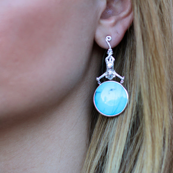 Over the Moon Headstand Monkeys in Turquoise, White Sapphires, & Sterling Silver - USE CODE HOORAY50 FOR AN EXTRA 50% OFF