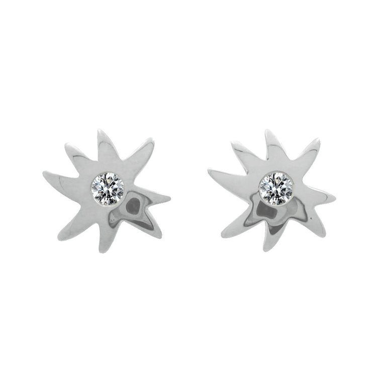 Petite Hope Star & White Sapphire Posts in Sterling Silver - Newly Added
