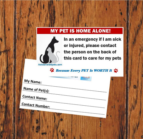 In Case Of EMERGENCY PET Card. Get YOURS Today! Shipping included in price.