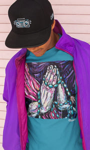 Praying Hands Unisex Crew T-Shirt - Devious Elements Apparel