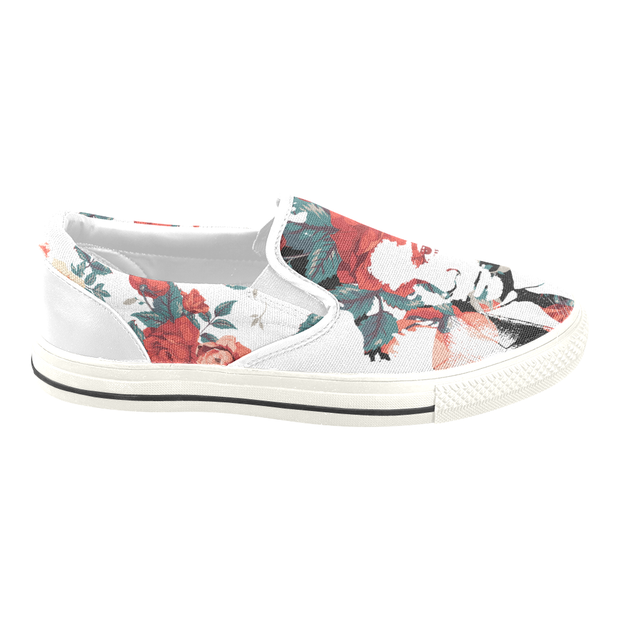 Basquiat Floral Print Canvas Ladies Slip On Low-Top - Devious Elements Apparel