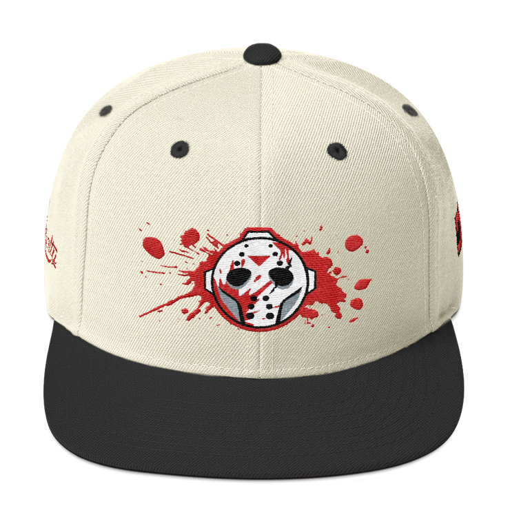 Voorhees Blood Mask High Profile Snapback Hat Loyalty Mask Voorhees Blood Mask High Profile Snapback Hat Voorhees Blood Mask High Profile Snapback Hat - Devious Elements Apparel